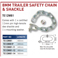 CM Trailer Safety Chain Set - Galv Shackle