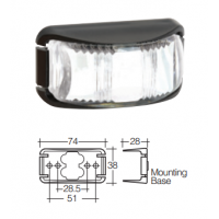 LED Marker Lamp - Model 16 - White - Front Only