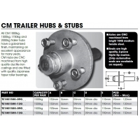CM Hub & Stub Axle Kit - 1500kg LM - 150mm Hub - Long Stub